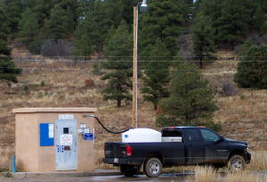 The water filling station in Pagosa Trails